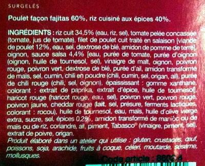 Poulet façon fajitas et riz aux épices - Ingrédients