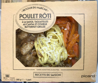 Poulet rôti à la sauge, tagliatelles au cantal et courge butternut grillée - Product - fr