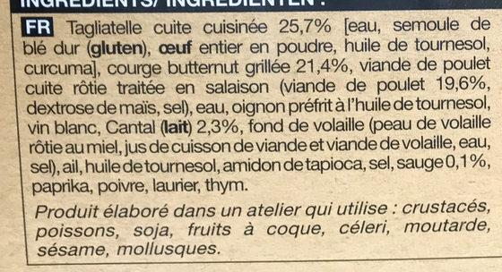 Poulet rôti à la sauge, tagliatelles au cantal et courge butternut grillée - Ingrediënten - fr
