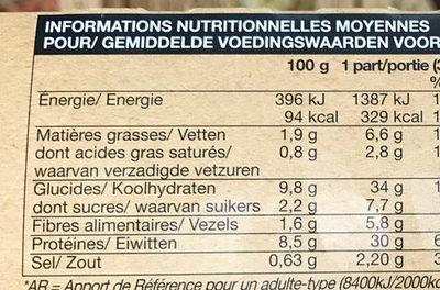 Poulet rôti à la sauge, tagliatelles au cantal et courge butternut grillée - Voedingswaarden - fr