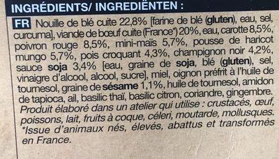 Bœuf Mariné, Nouilles et Légumes Sautés - Ingrediënten - fr