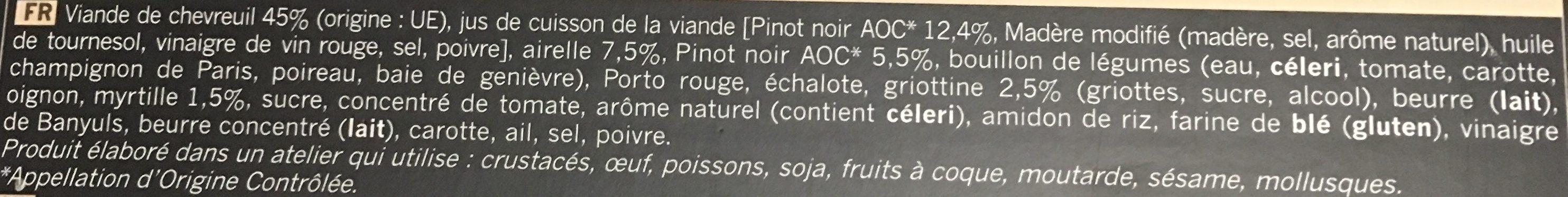 Civet de Chevreuil, Sauce au Pinot Noir et aux Airelles - Ingrédients - fr