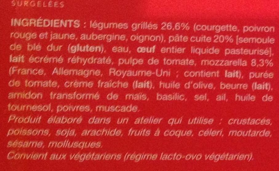 Lasagnes aux légumes grillés et à la mozzarella, Surgelées - Inhaltsstoffe - fr