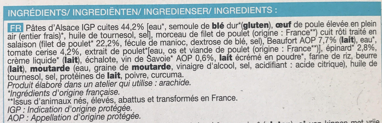 Poulet sauce Beaufort et pâtes aux oeufs surgelés - Ingrediënten