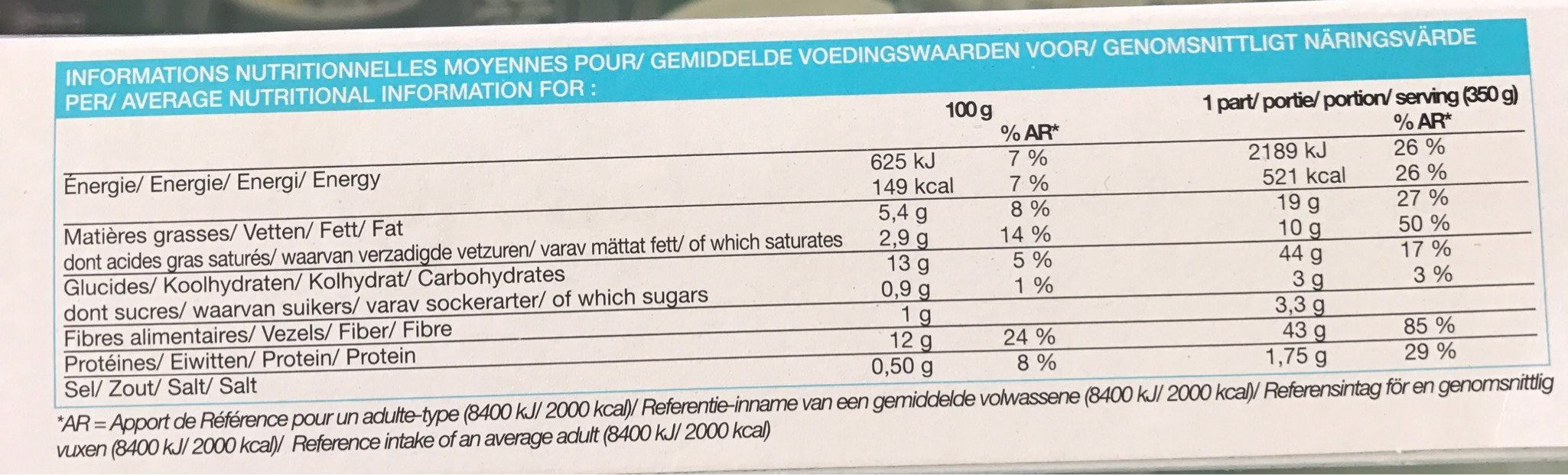Poulet sauce Beaufort et pâtes aux oeufs surgelés - Voedingswaarden