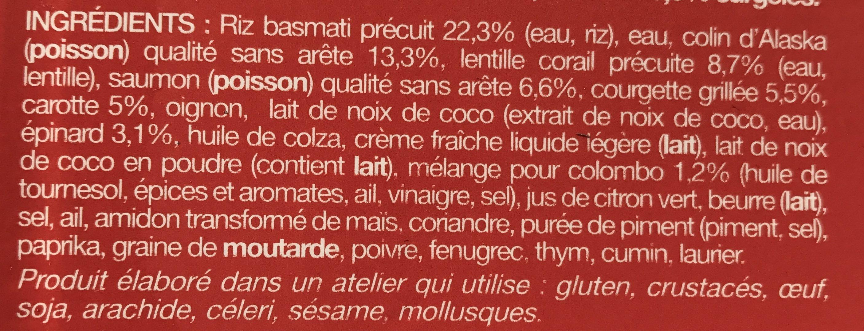 Colombo de poissons, riz et lentilles corail - Ingrediënten - fr