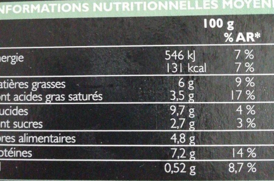 Risotto d'Orge et d'Avoine aux Légumes et au Chèvre - Nutrition facts