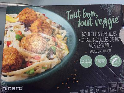 Boulettes Lentilles Corail, Nouilles de Riz aux Légumes Sauce Cacahuète - Produit - fr