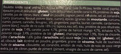 Boulettes Lentilles Corail, Nouilles de Riz aux Légumes Sauce Cacahuète - Ingrédients - fr