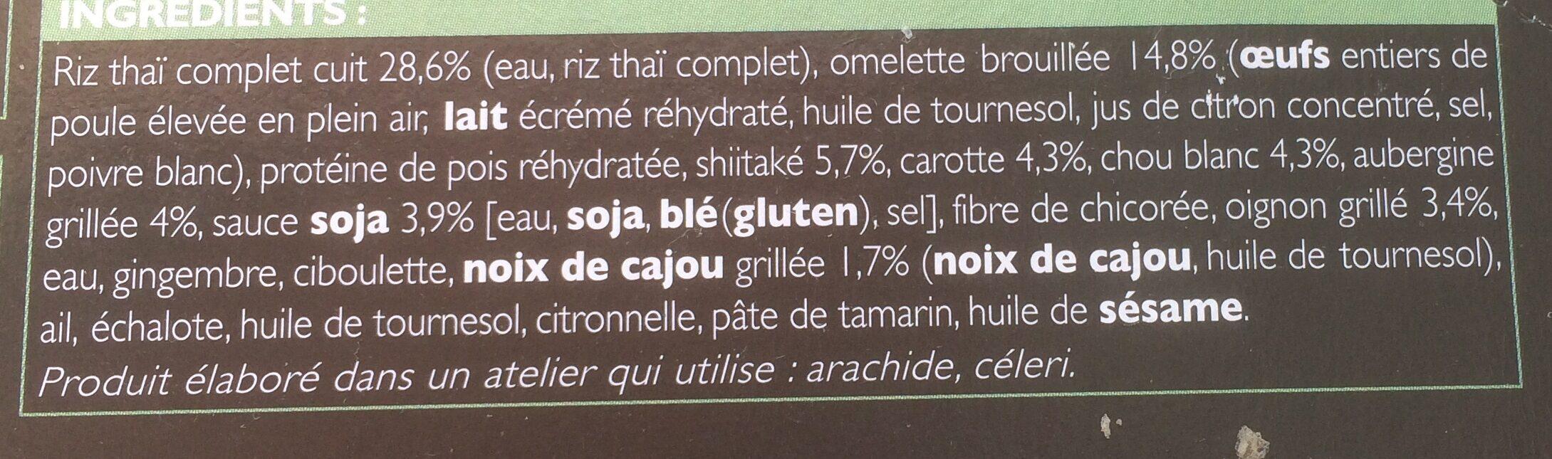 Riz à la Thaïlandaise (Veggie) - Inhaltsstoffe - fr