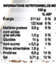 Couscous 400 g - Valori nutrizionali - fr