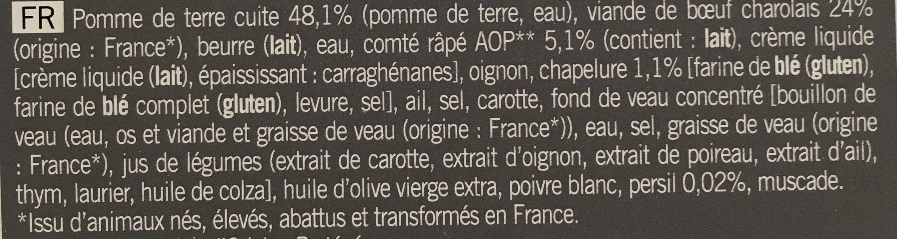 Parmentier de Bœuf Charolais, écrasée de pommes de terre au Comté AOP - Ingrédients - fr