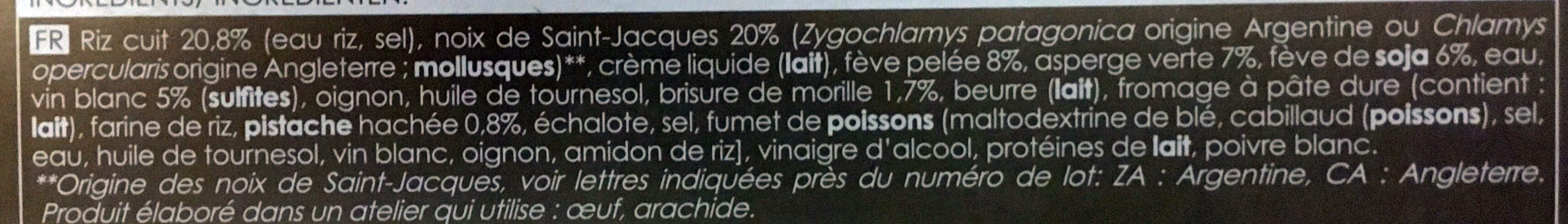 Saint-Jacques risotto aux morilles, poêlée de fèves et asperges - Ingrédients - fr