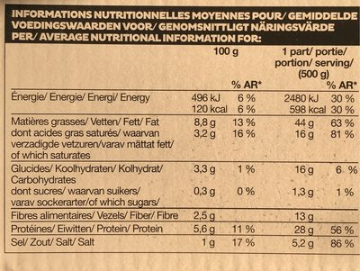 Choucroute au vin d'Alsace Riesling - Nutrition facts