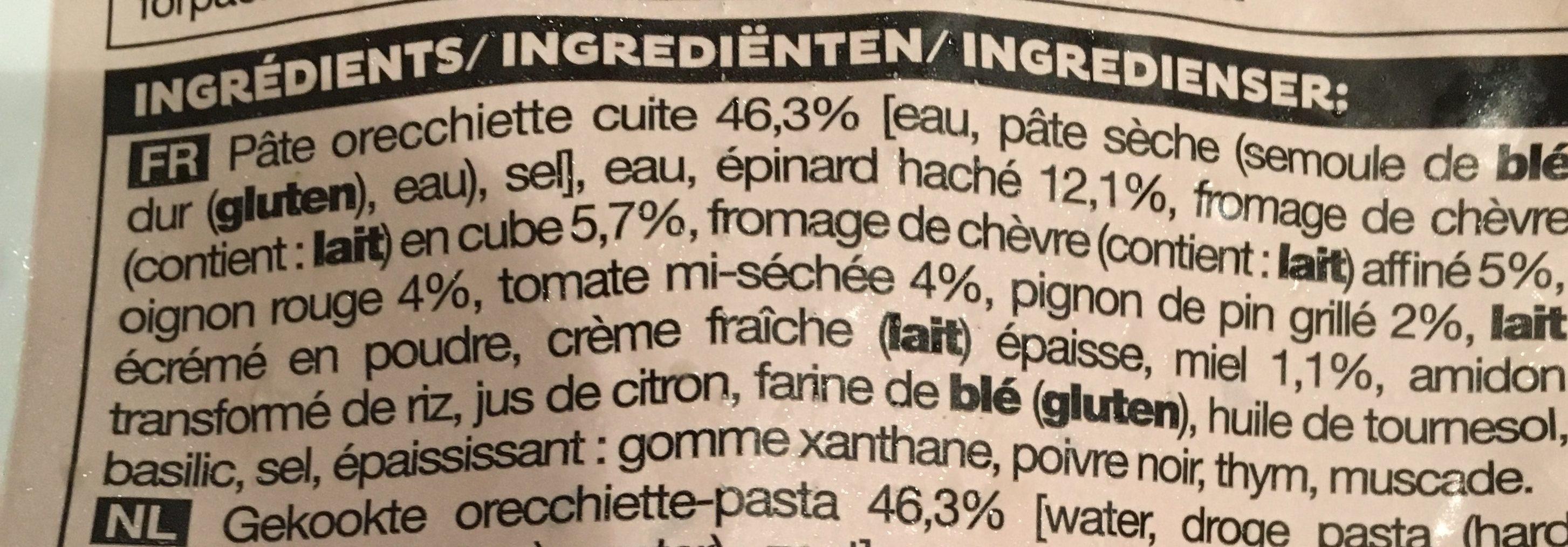 Pâtes Orecchiette au Fromage de Chèvre et au Miel, Pignons de Pin - Ingredients