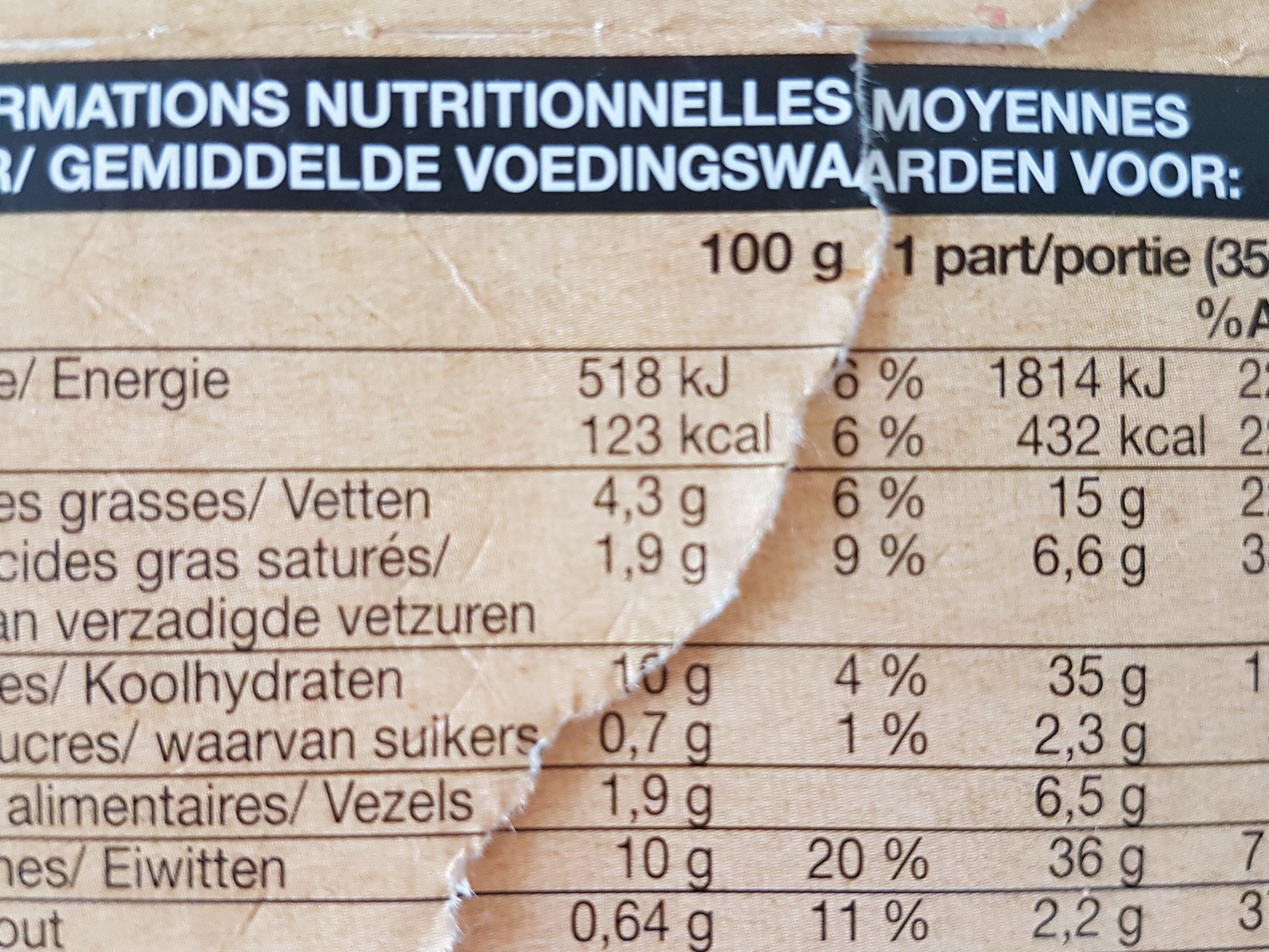 Poulet mariné à la tomate et au basilic, pappardelles au fromage - Informations nutritionnelles - fr
