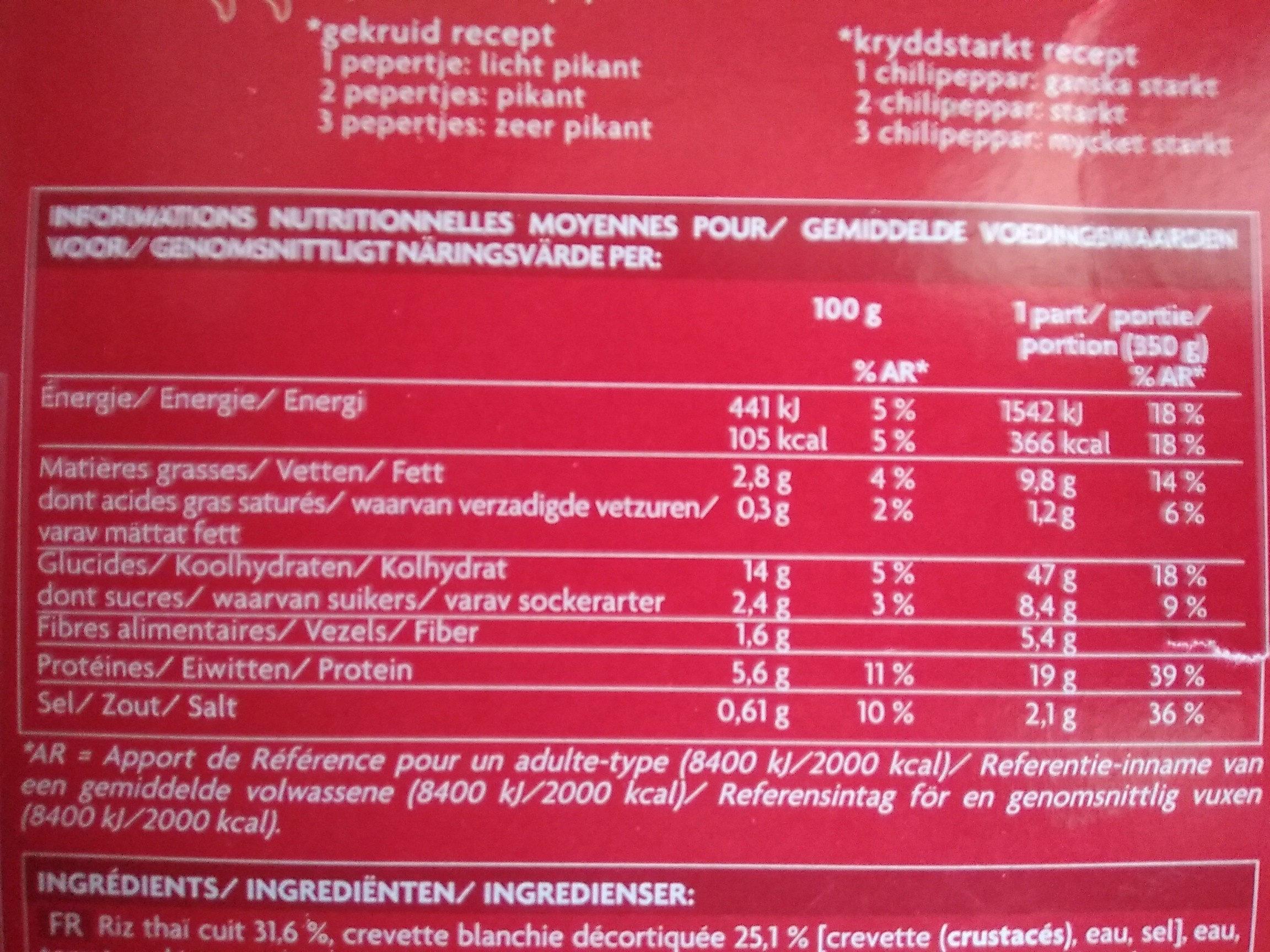 Crevettes sauce piquante et riz thaï - Nutrition facts