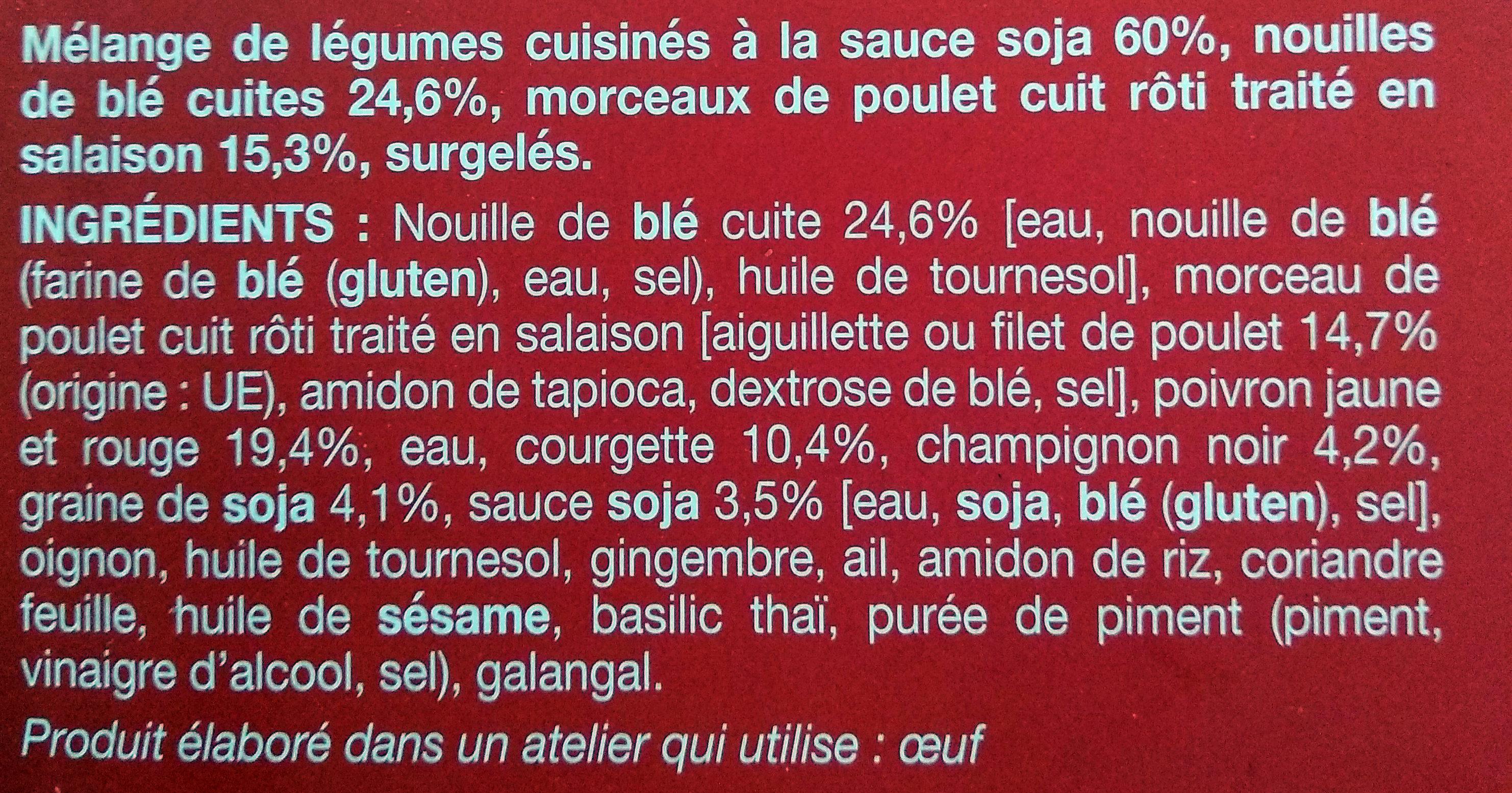 Poulet, Nouilles Asiatiques et Légumes Wok - Ingrédients