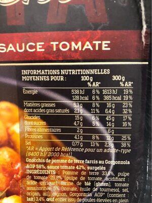 Gnocchi Farcis au Gorgonzola AOP et sauce Tomate - Valori nutrizionali - fr