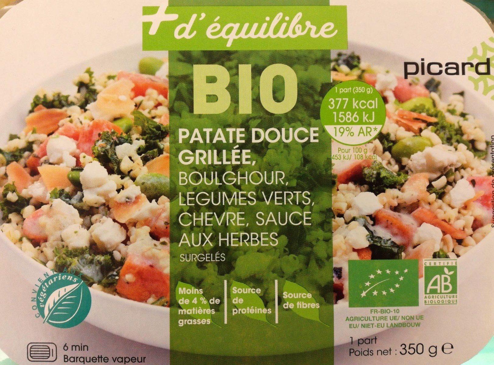Patate douce grillée, boulghour, légumes verts, chèvre, sauce aux herbes - Produit - fr