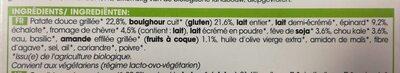 Patate douce grillée, boulghour, légumes verts, chèvre, sauce aux herbes - Ingredienti - fr