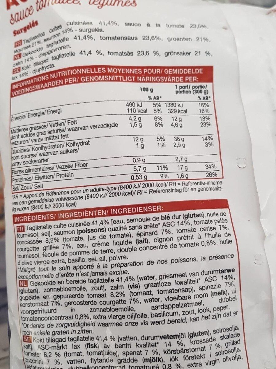 Tagliatelles au saumon sauce tomatée, légumes - Valori nutrizionali - fr