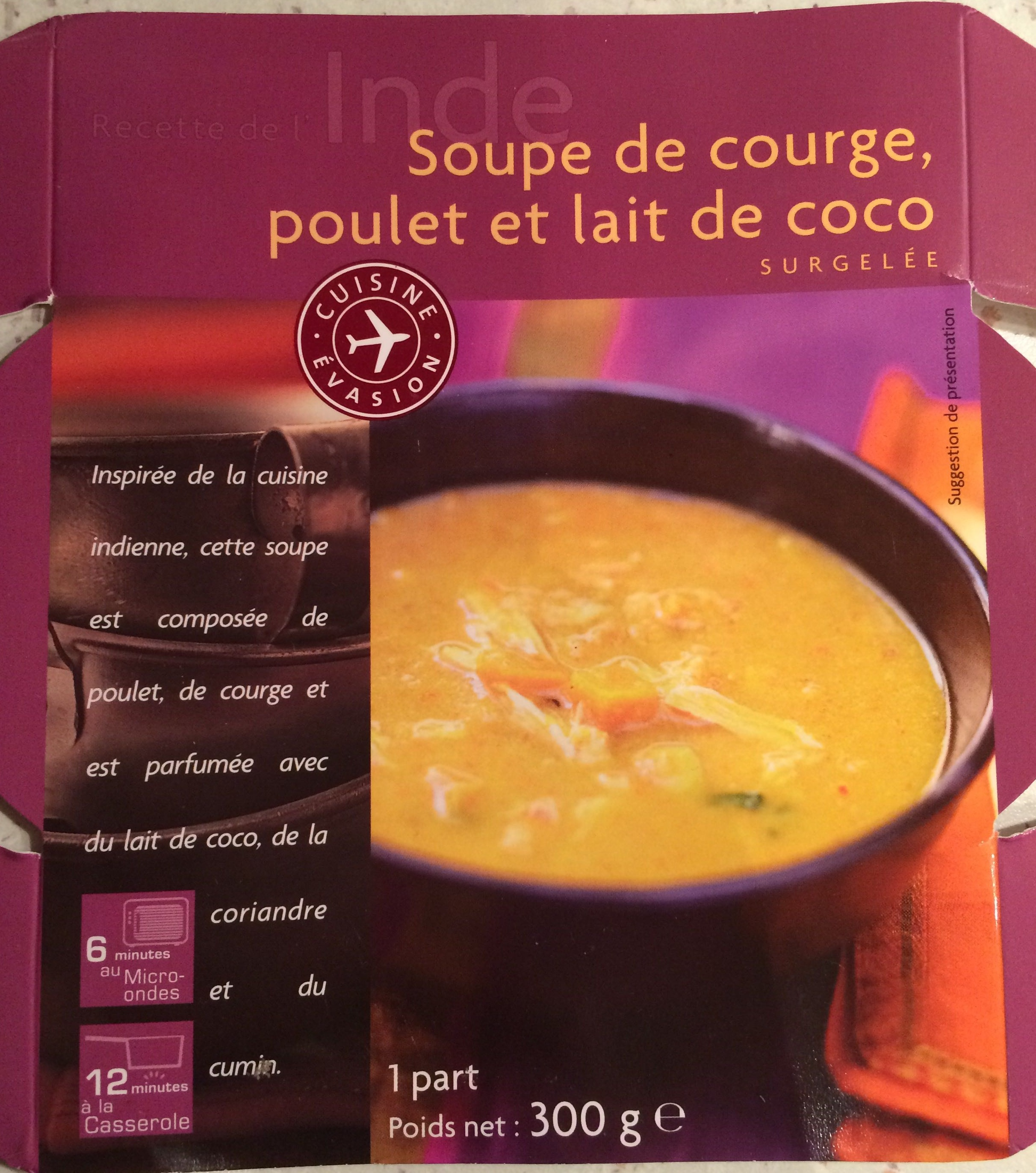 Soupe de courge, poulet et lait de coco - Produit