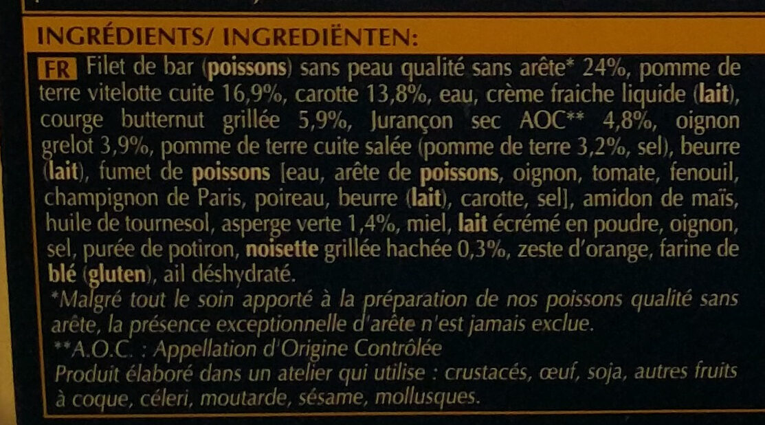 Filet de bar - Ingredients - fr