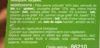 Penne et légumes du soleil Bio - Ingredients