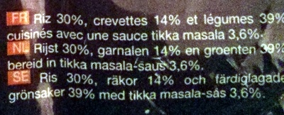 Riz, crevettes à l'indienne - Ingrediënten