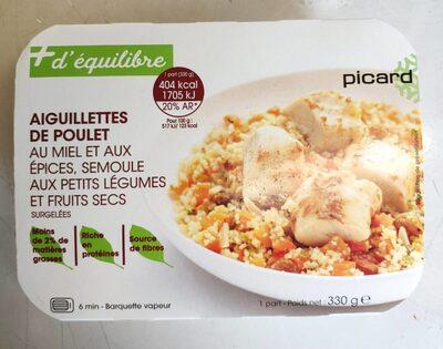Aiguillettes de poulet au miel et épices, semoule et légumes - Product - en