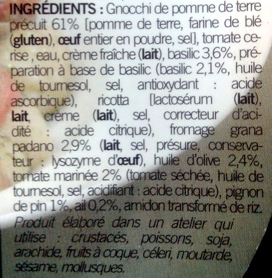 Gnocchis au pesto et tomates marinées - Inhaltsstoffe - fr