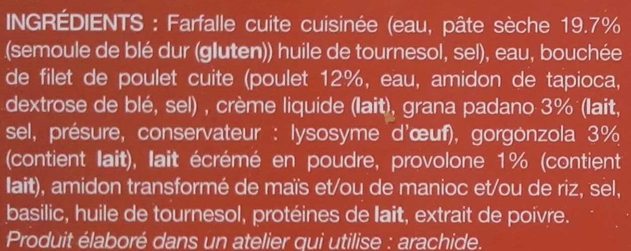 Poulet et mini-farfalles sauce aux 3 fromages - Ingrédients