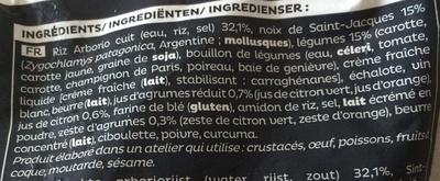 Risotto aux Saint-Jacques, petits légumes, sauce citronnée - Ingrédients - fr