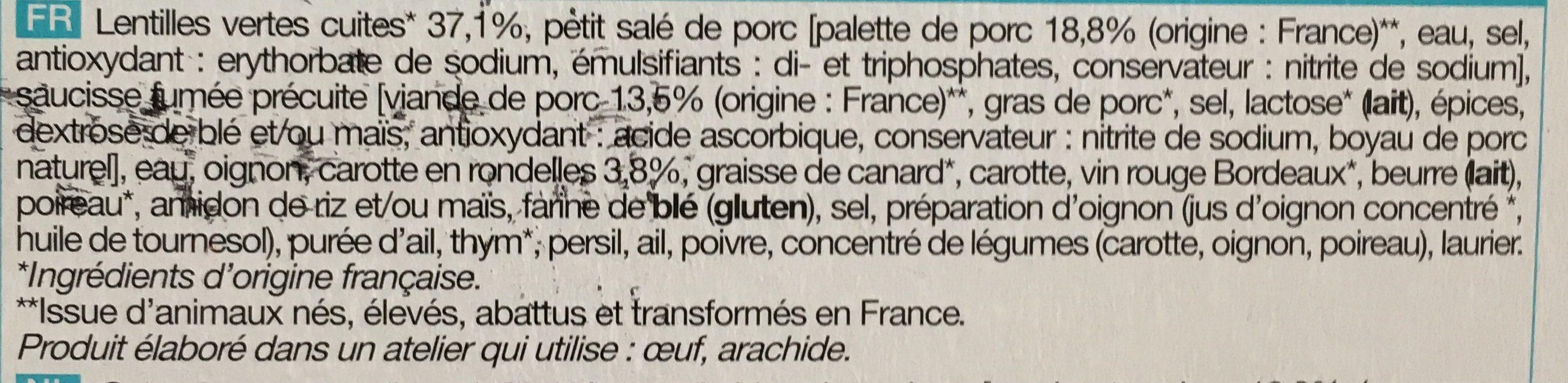 Petit Salé aux Lentilles Vertes - Ingrédients - fr