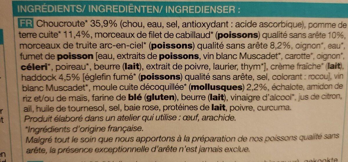 Choucroute de la Mer - Ingrédients