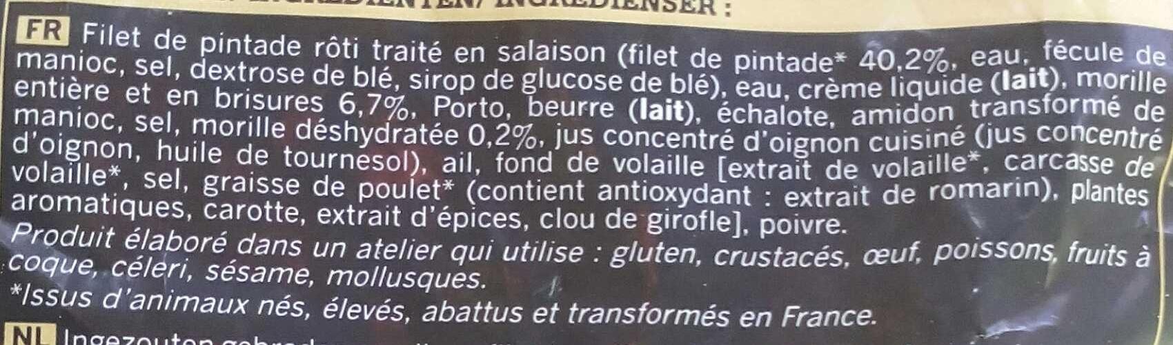 Pintade sauce aux morilles - Ingrédients - fr