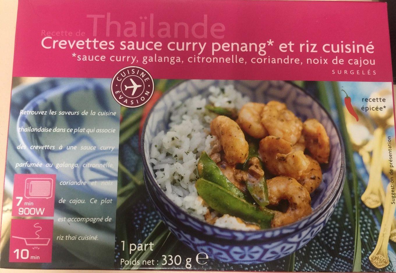Crevettes Sauce Curry Penang et Riz Cuisiné - Produit