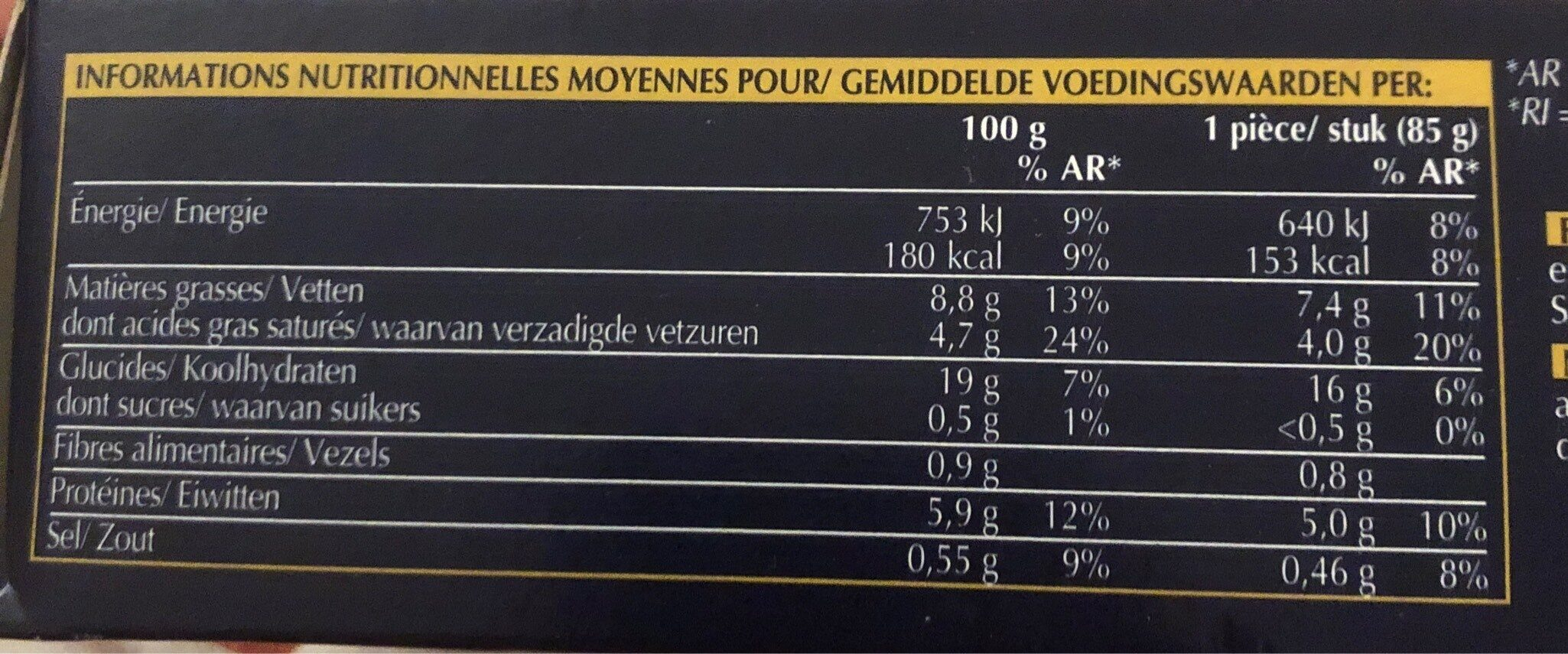 Lingot riz et asperges vertes - Informations nutritionnelles - fr