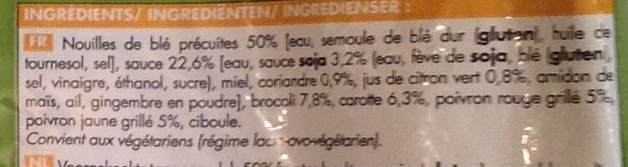 Nouilles légumes sauce soja - Ingrédients
