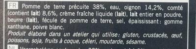 Gratin de pomme de terre, oignon, comté surgelé - Ingrédients - fr