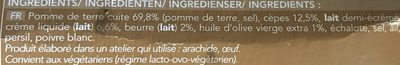 Écrasée de Pommes de Terre aux Cèpes - Ingrediënten - fr