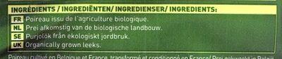 Poireaux émincés Bio - Ingrédients - fr