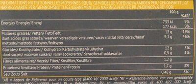 Purée de pomme de terre au beurre et crème d'Isigny - Informations nutritionnelles - fr