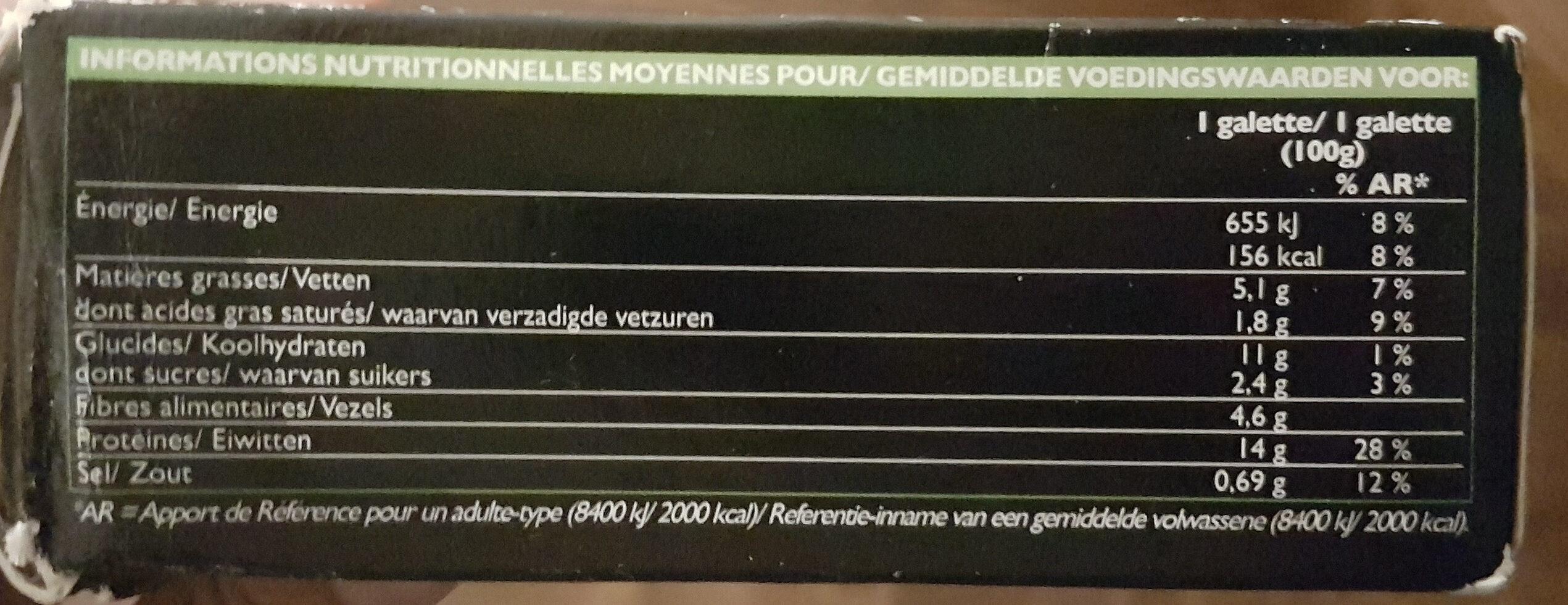 Galettes vegetales provencale - Informations nutritionnelles - fr
