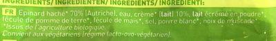 Épinards Hachés à la Crème Bio - Ingrédients