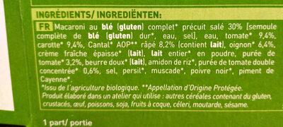 Gratin Macaroni Complet Tomate Cantal AOP - Ingredienti - fr