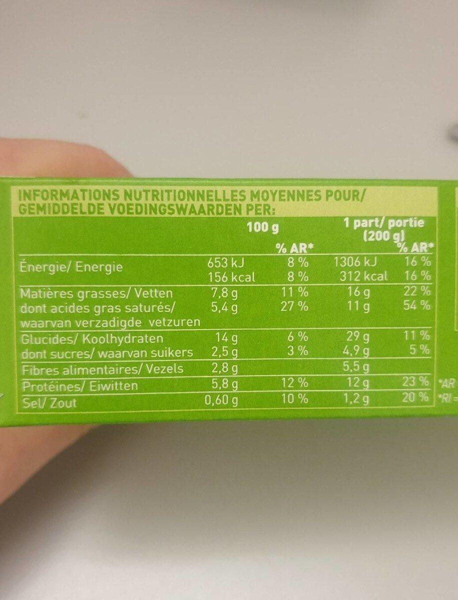 Gratin Macaroni Complet Tomate Cantal AOP - Valori nutrizionali - fr