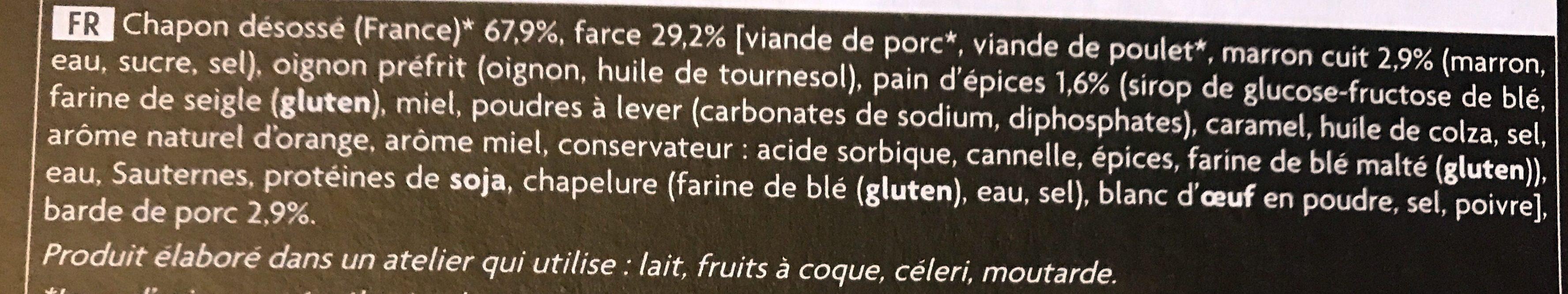 Rôti de Chapon Farci aux Marrons et au Pain d'Épices - Ingrédients