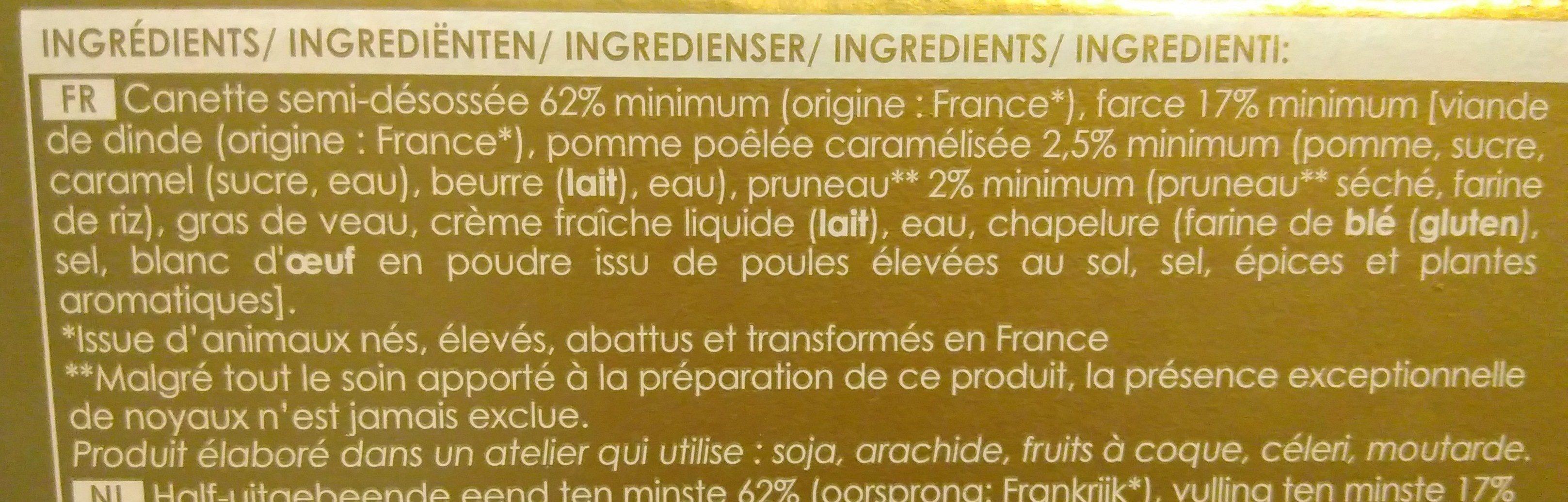 Canette farcie aux pommes et pruneaux - Ingrédients - fr